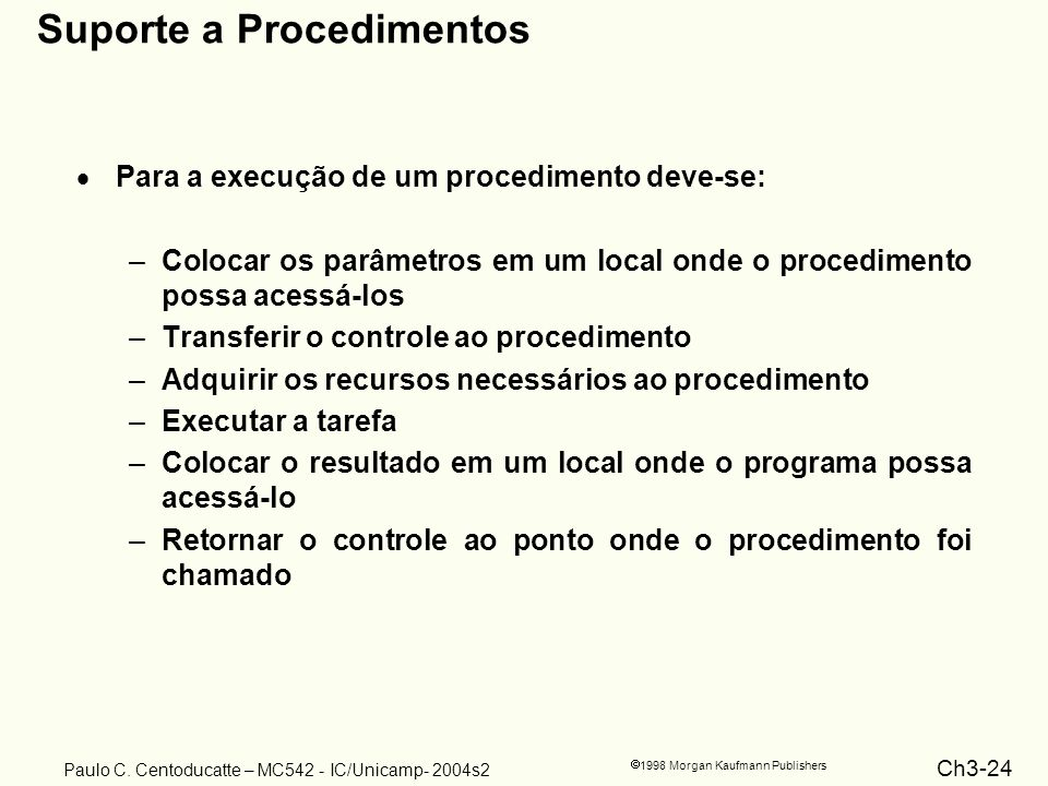 Ch3-24 1998 Morgan Kaufmann Publishers Paulo C. Centoducatte – MC542 - IC/Unicamp- 2004s2 Suporte a Procedimentos Para a execução de um procedimento d