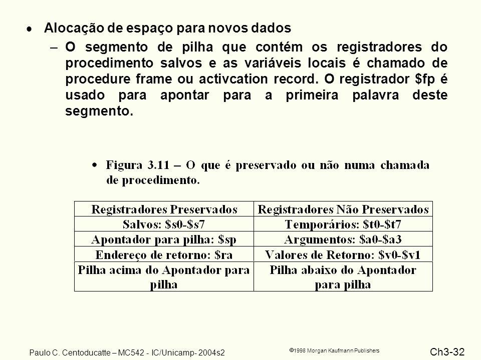 Ch3-32 1998 Morgan Kaufmann Publishers Paulo C. Centoducatte – MC542 - IC/Unicamp- 2004s2 Alocação de espaço para novos dados –O segmento de pilha que