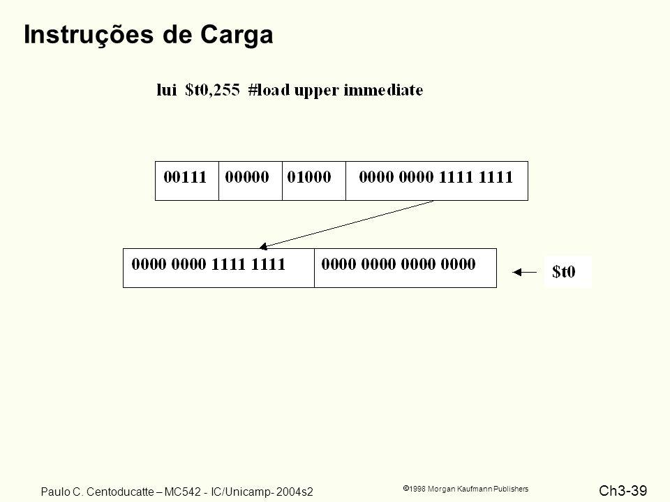 Ch3-39 1998 Morgan Kaufmann Publishers Paulo C. Centoducatte – MC542 - IC/Unicamp- 2004s2 Instruções de Carga