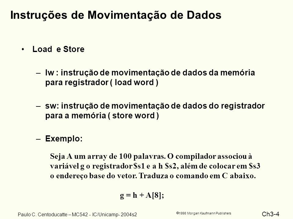 Ch3-4 1998 Morgan Kaufmann Publishers Paulo C. Centoducatte – MC542 - IC/Unicamp- 2004s2 Instruções de Movimentação de Dados Load e Store –lw : instru