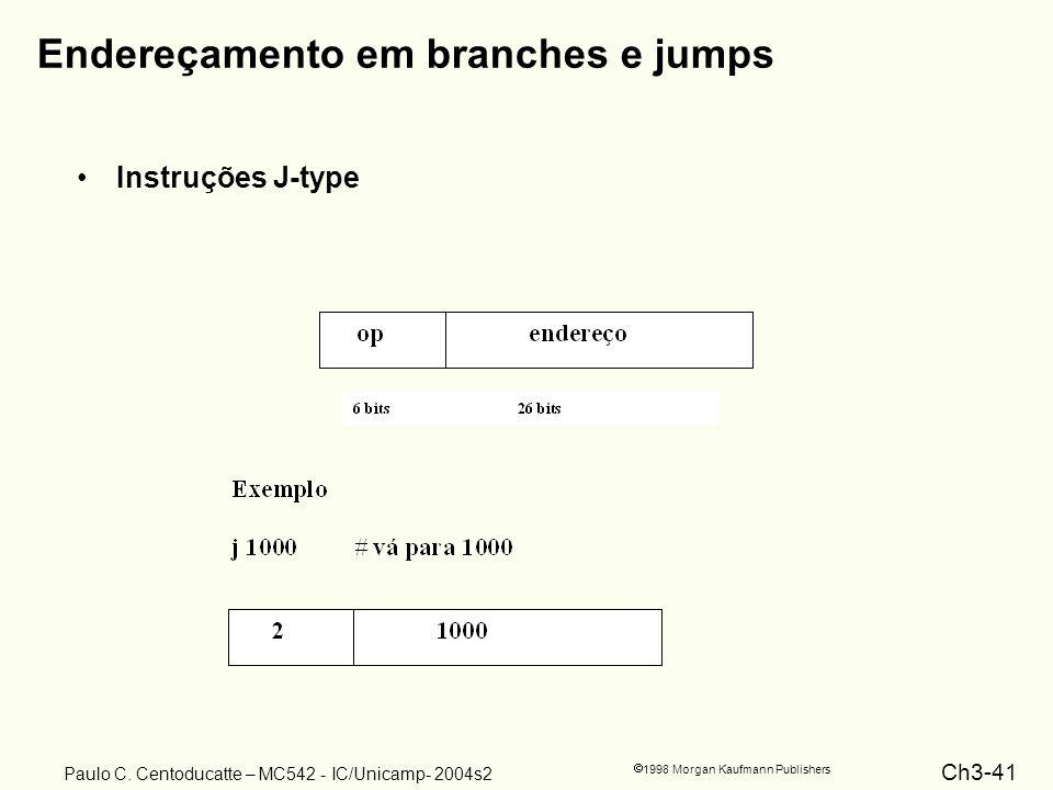 Ch3-41 1998 Morgan Kaufmann Publishers Paulo C. Centoducatte – MC542 - IC/Unicamp- 2004s2 Endereçamento em branches e jumps Instruções J-type
