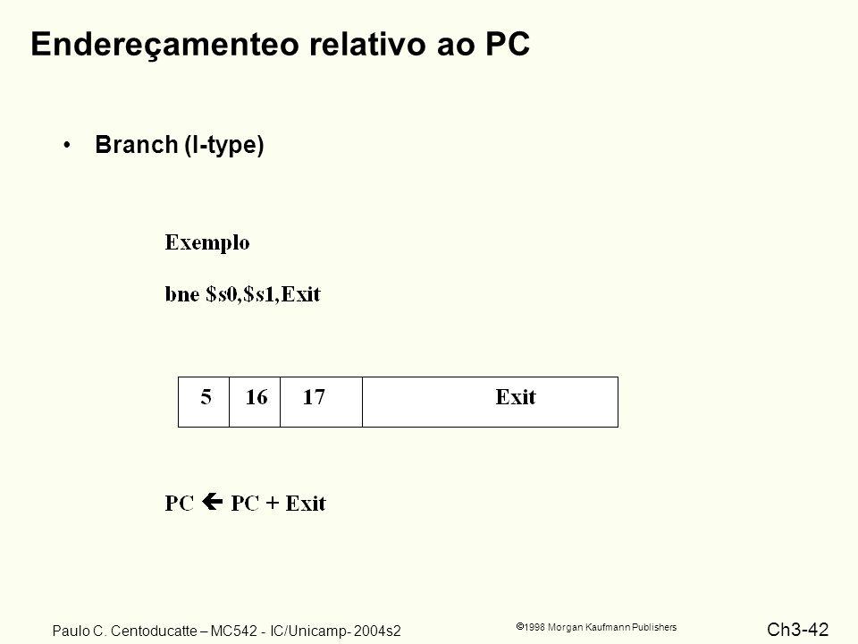 Ch3-42 1998 Morgan Kaufmann Publishers Paulo C. Centoducatte – MC542 - IC/Unicamp- 2004s2 Endereçamenteo relativo ao PC Branch (I-type)