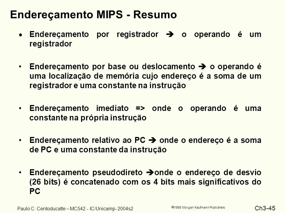 Ch3-45 1998 Morgan Kaufmann Publishers Paulo C. Centoducatte – MC542 - IC/Unicamp- 2004s2 Endereçamento MIPS - Resumo Endereçamento por registrador o