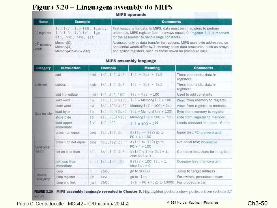 Ch3-50 1998 Morgan Kaufmann Publishers Paulo C. Centoducatte – MC542 - IC/Unicamp- 2004s2