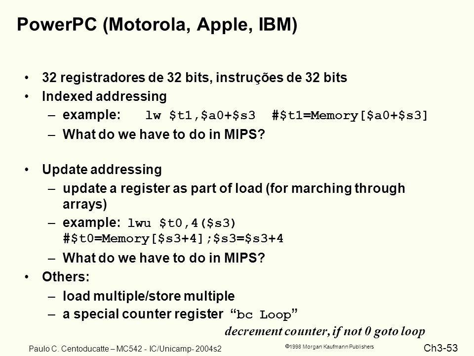Ch3-53 1998 Morgan Kaufmann Publishers Paulo C. Centoducatte – MC542 - IC/Unicamp- 2004s2 PowerPC (Motorola, Apple, IBM) 32 registradores de 32 bits,