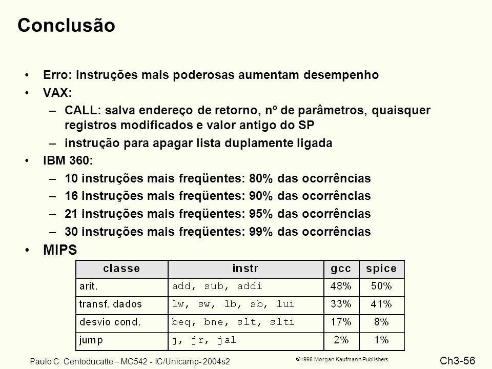 Ch3-56 1998 Morgan Kaufmann Publishers Paulo C. Centoducatte – MC542 - IC/Unicamp- 2004s2 Conclusão Erro: instruções mais poderosas aumentam desempenh