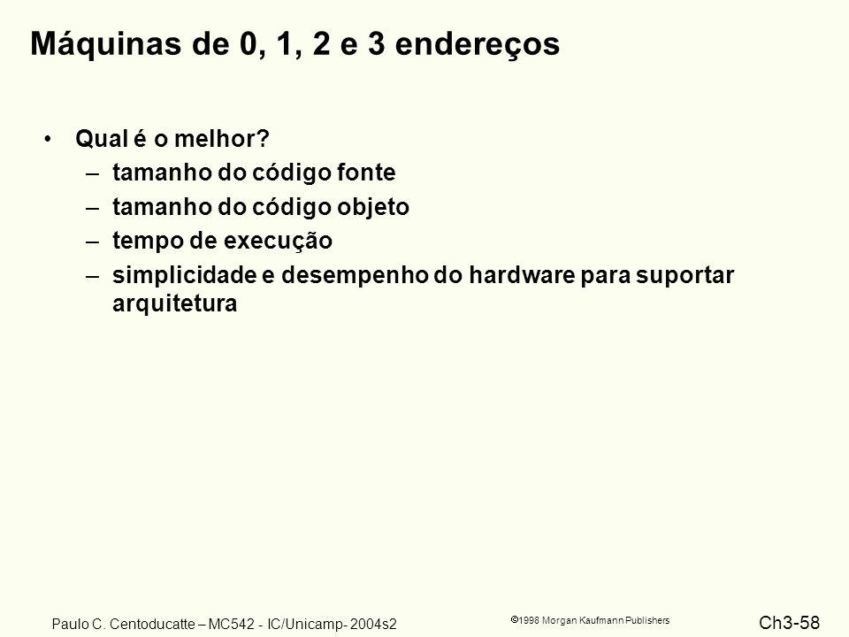 Ch3-58 1998 Morgan Kaufmann Publishers Paulo C. Centoducatte – MC542 - IC/Unicamp- 2004s2 Máquinas de 0, 1, 2 e 3 endereços Qual é o melhor? –tamanho