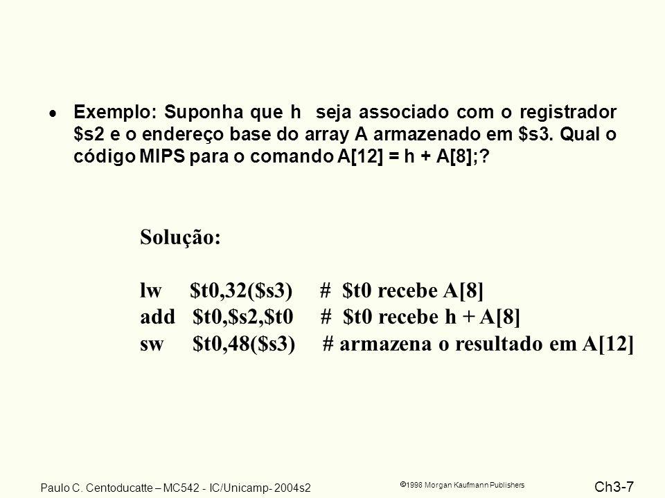 Ch3-7 1998 Morgan Kaufmann Publishers Paulo C. Centoducatte – MC542 - IC/Unicamp- 2004s2 Exemplo: Suponha que h seja associado com o registrador $s2 e
