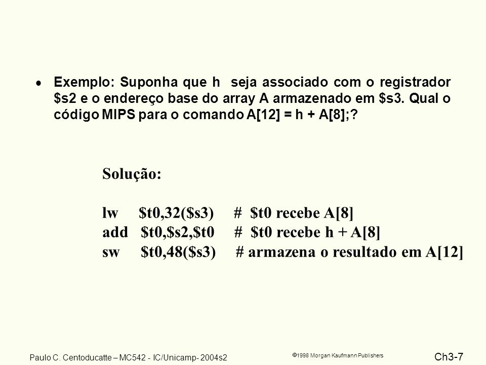 Ch3-28 1998 Morgan Kaufmann Publishers Paulo C. Centoducatte – MC542 - IC/Unicamp- 2004s2