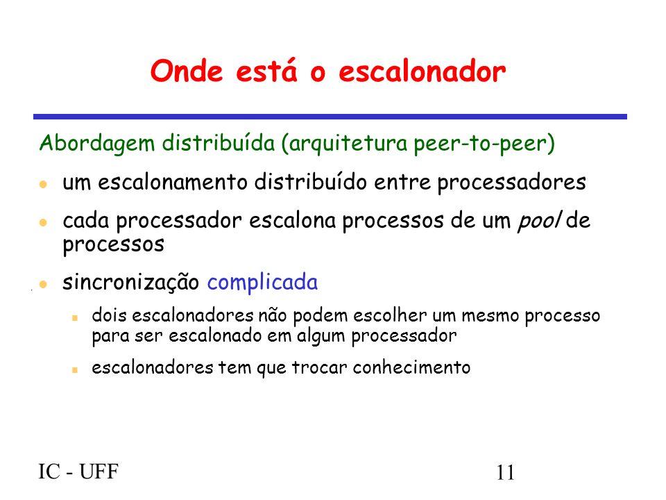 IC - UFF 11 Onde está o escalonador Abordagem distribuída (arquitetura peer-to-peer) um escalonamento distribuído entre processadores cada processador escalona processos de um pool de processos sincronização complicada dois escalonadores não podem escolher um mesmo processo para ser escalonado em algum processador escalonadores tem que trocar conhecimento