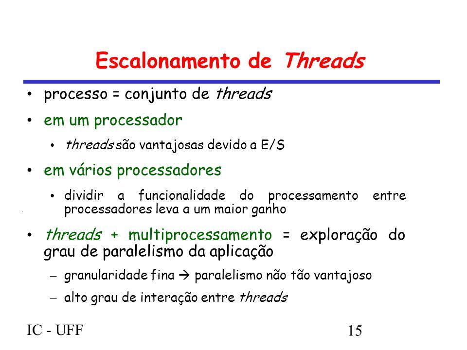 IC - UFF 15 Escalonamento de Threads processo = conjunto de threads em um processador threads são vantajosas devido a E/S em vários processadores dividir a funcionalidade do processamento entre processadores leva a um maior ganho threads + multiprocessamento = exploração do grau de paralelismo da aplicação – granularidade fina paralelismo não tão vantajoso – alto grau de interação entre threads