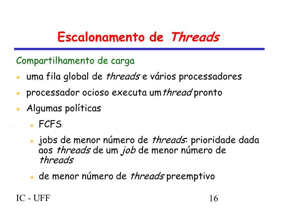 IC - UFF 16 Escalonamento de Threads Compartilhamento de carga uma fila global de threads e vários processadores processador ocioso executa umthread pronto Algumas políticas FCFS jobs de menor número de threads: prioridade dada aos threads de um job de menor número de threads de menor número de threads preemptivo