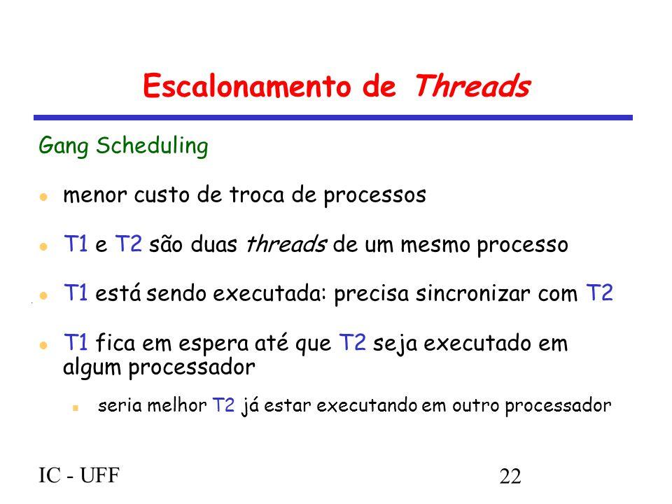IC - UFF 22 Escalonamento de Threads Gang Scheduling menor custo de troca de processos T1 e T2 são duas threads de um mesmo processo T1 está sendo executada: precisa sincronizar com T2 T1 fica em espera até que T2 seja executado em algum processador seria melhor T2 já estar executando em outro processador