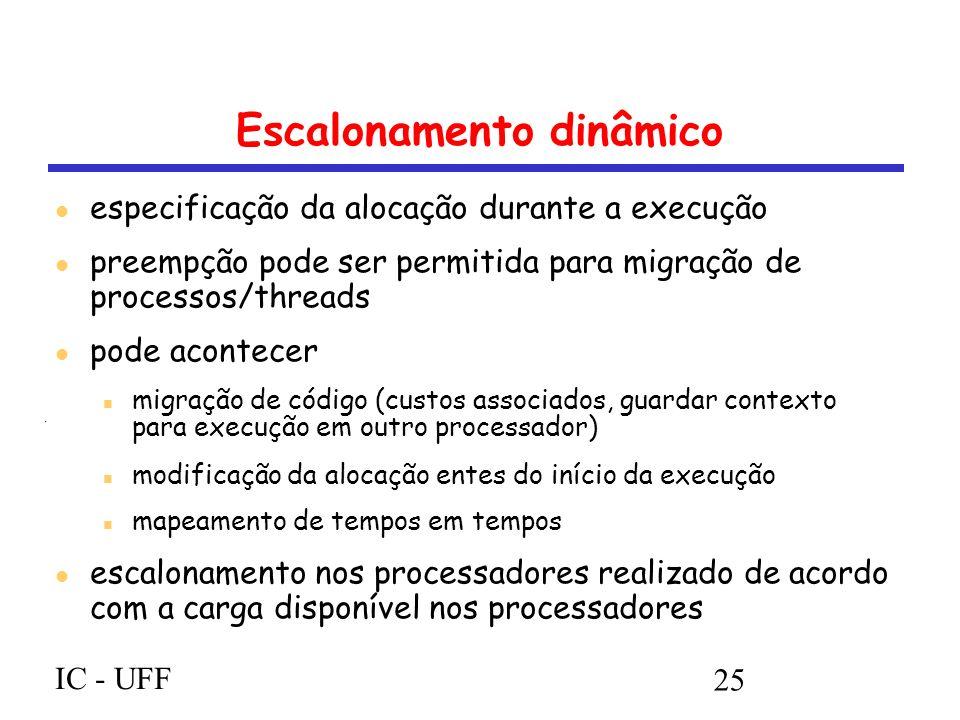 IC - UFF 25 Escalonamento dinâmico especificação da alocação durante a execução preempção pode ser permitida para migração de processos/threads pode acontecer migração de código (custos associados, guardar contexto para execução em outro processador) modificação da alocação entes do início da execução mapeamento de tempos em tempos escalonamento nos processadores realizado de acordo com a carga disponível nos processadores