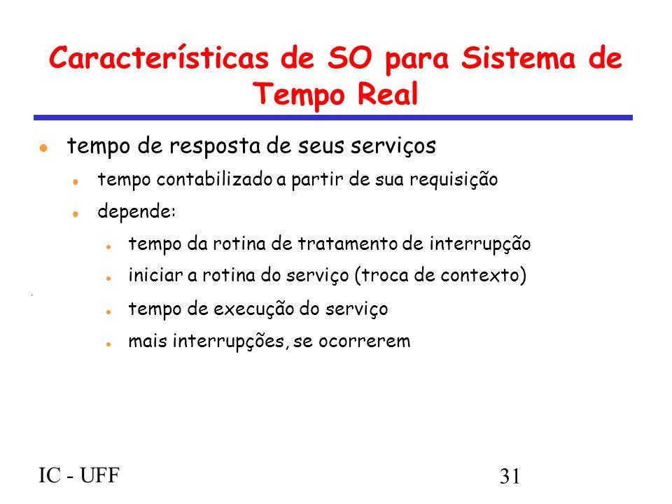 IC - UFF 31 Características de SO para Sistema de Tempo Real tempo de resposta de seus serviços tempo contabilizado a partir de sua requisição depende: tempo da rotina de tratamento de interrupção iniciar a rotina do serviço (troca de contexto) tempo de execução do serviço mais interrupções, se ocorrerem
