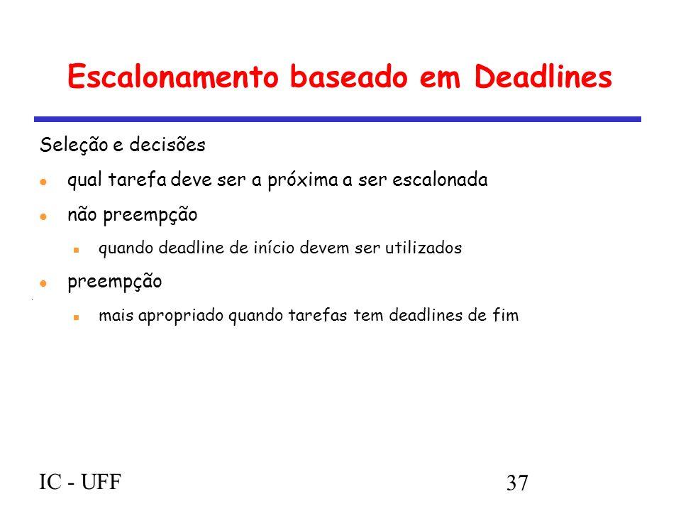 IC - UFF 37 Escalonamento baseado em Deadlines Seleção e decisões qual tarefa deve ser a próxima a ser escalonada não preempção quando deadline de início devem ser utilizados preempção mais apropriado quando tarefas tem deadlines de fim