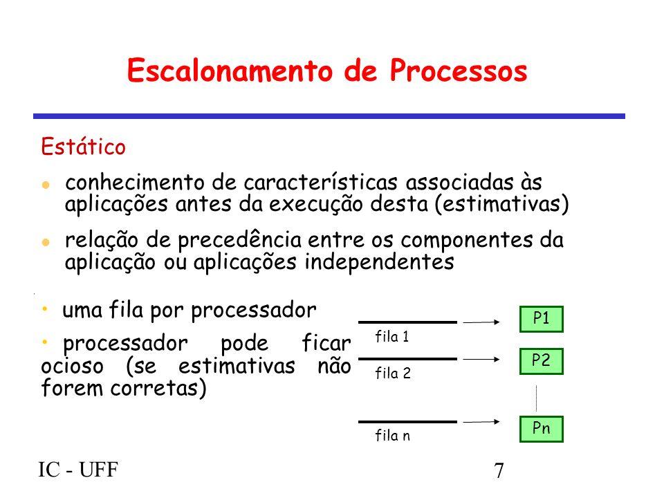 IC - UFF 7 Escalonamento de Processos Estático conhecimento de características associadas às aplicações antes da execução desta (estimativas) relação de precedência entre os componentes da aplicação ou aplicações independentes P1 P2 Pn fila 1 fila 2 fila n uma fila por processador processador pode ficar ocioso (se estimativas não forem corretas)
