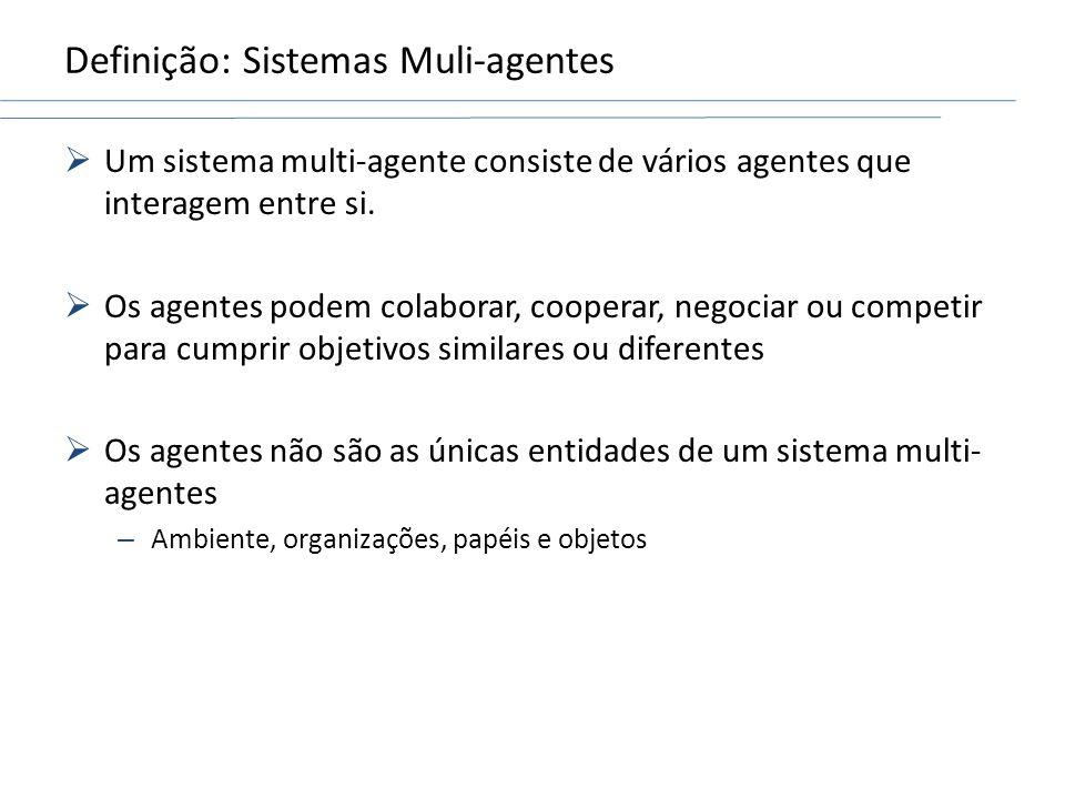 Um sistema multi-agente consiste de vários agentes que interagem entre si. Os agentes podem colaborar, cooperar, negociar ou competir para cumprir obj