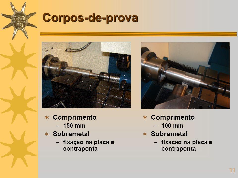 11 Corpos-de-prova Comprimento –150 mm Sobremetal –fixação na placa e contraponta Comprimento –100 mm Sobremetal –fixação na placa e contraponta