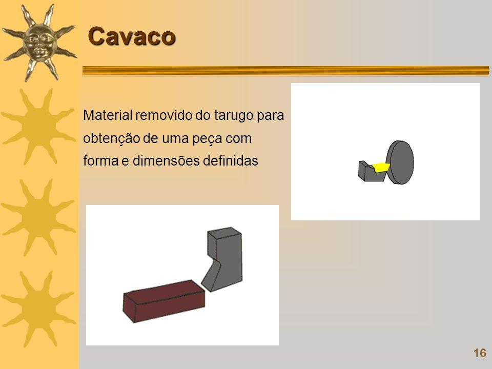 16 Material removido do tarugo para obtenção de uma peça com forma e dimensões definidas Cavaco