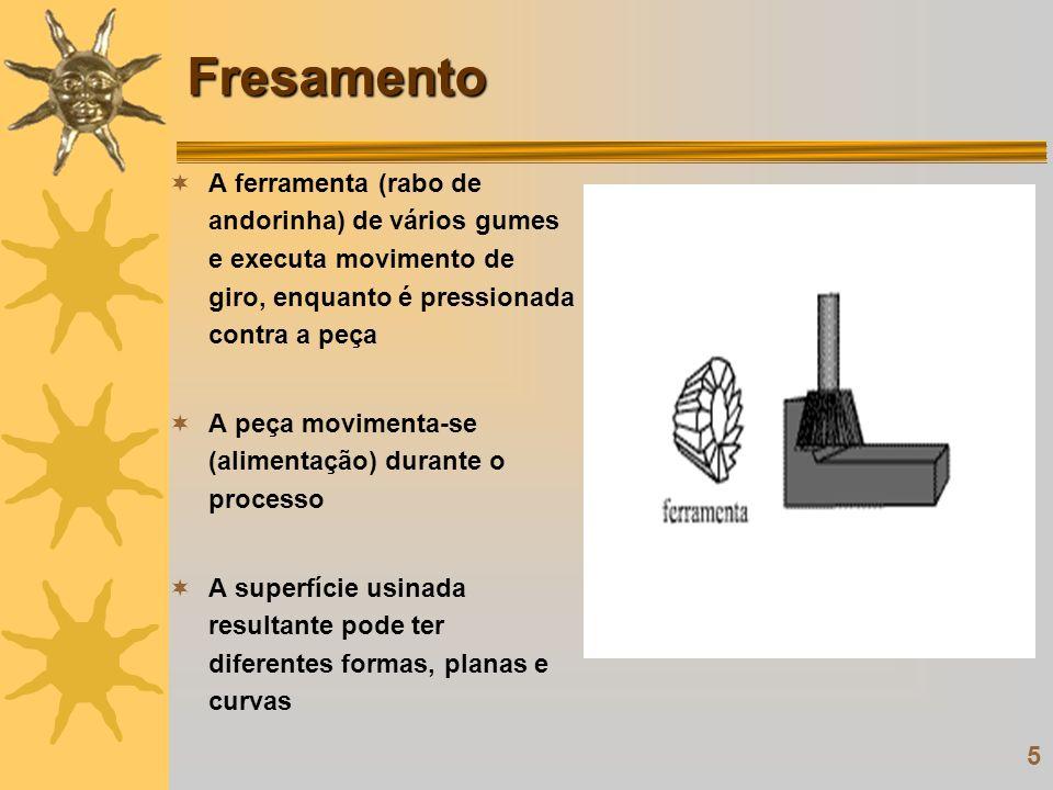 5 Fresamento A ferramenta (rabo de andorinha) de vários gumes e executa movimento de giro, enquanto é pressionada contra a peça A peça movimenta-se (a