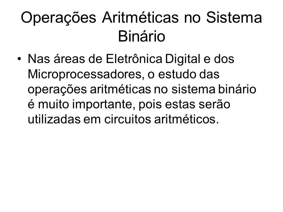 Operações Aritméticas no Sistema Binário Nas áreas de Eletrônica Digital e dos Microprocessadores, o estudo das operações aritméticas no sistema binár