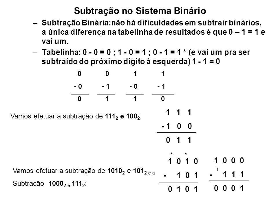 –Multiplicação Binária: as regras para realização de multiplicação com números binários são exatamente iguais às das multiplicações decimais, com uma enorme vantagem sobre estas pelo fato de que só temos 2 algarismos.