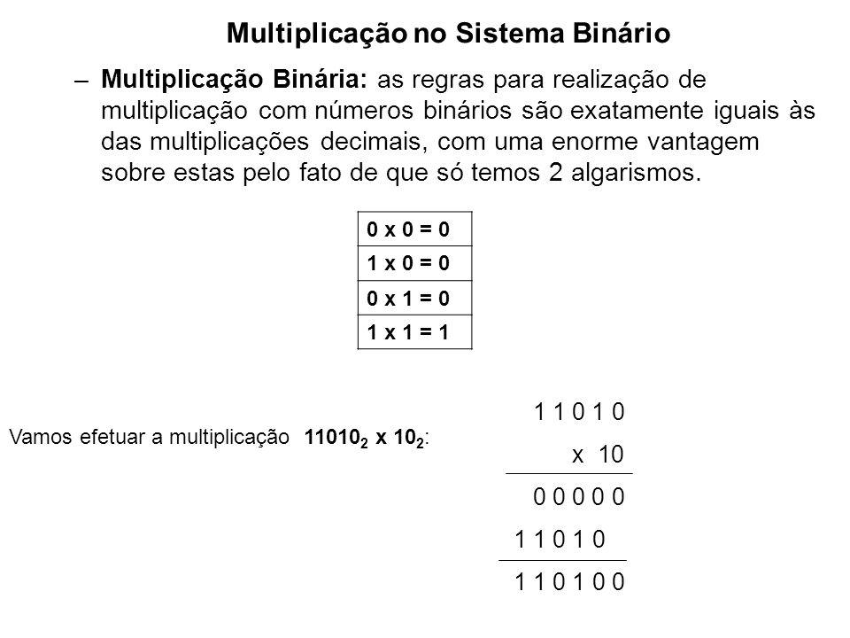 –Multiplicação Binária: as regras para realização de multiplicação com números binários são exatamente iguais às das multiplicações decimais, com uma