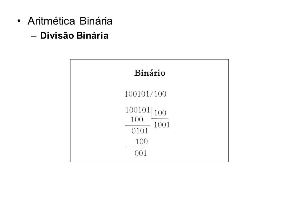 EXERCÍCIOS Efetue as somas, no sistema binário: a) 1000 2 + 1001 2 b) 1110 2 + 11101 2 Efetue as subtrações, no sistema binário: a) 1100 2 - 1010 2 b) 10101 2 - 1110 2 c) 11110 2 - 1111 2 Efetue as multiplicações, no sistema binário: a) 101 2 x 11 2 b) 11001 2 x 101 2 c) 11110 2 x 110 2