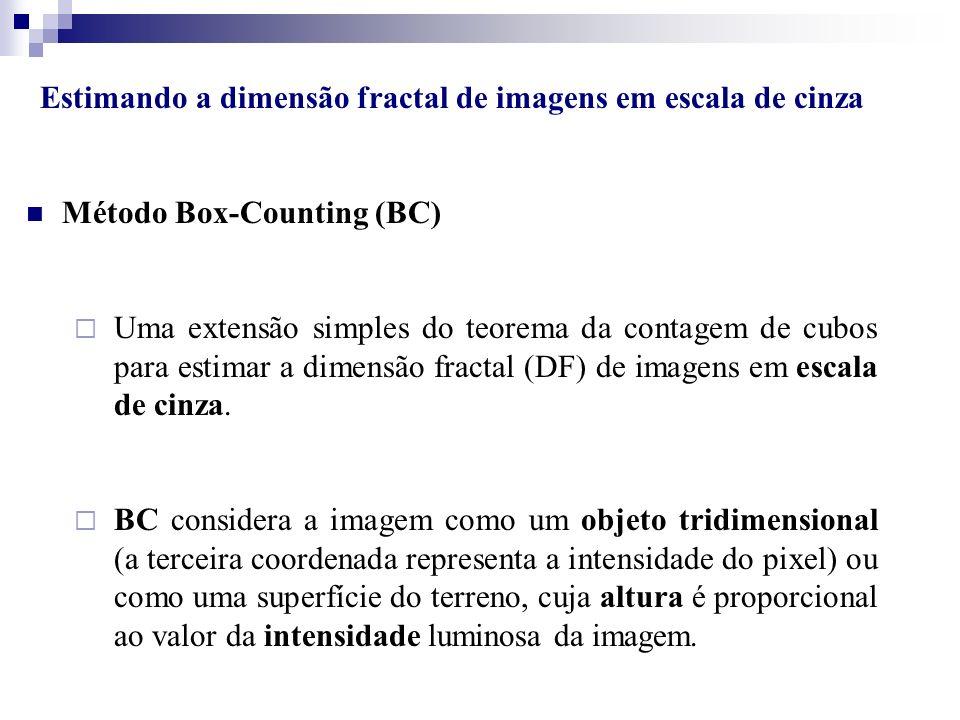 Estimando a dimensão fractal de imagens em escala de cinza Método Box-Counting (BC) Uma extensão simples do teorema da contagem de cubos para estimar