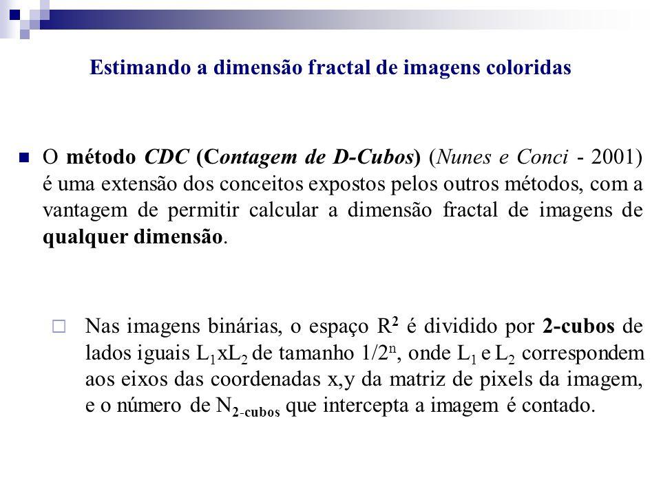 Estimando a dimensão fractal de imagens coloridas O método CDC (Contagem de D-Cubos) (Nunes e Conci - 2001) é uma extensão dos conceitos expostos pelo