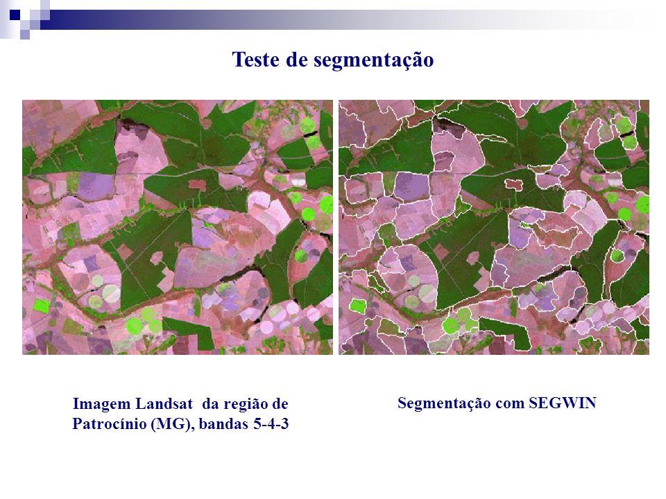 Imagem Landsat da região de Patrocínio (MG), bandas 5-4-3 Segmentação com SEGWIN Teste de segmentação