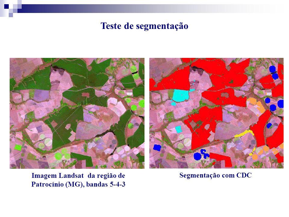 Imagem Landsat da região de Patrocínio (MG), bandas 5-4-3 Segmentação com CDC Teste de segmentação