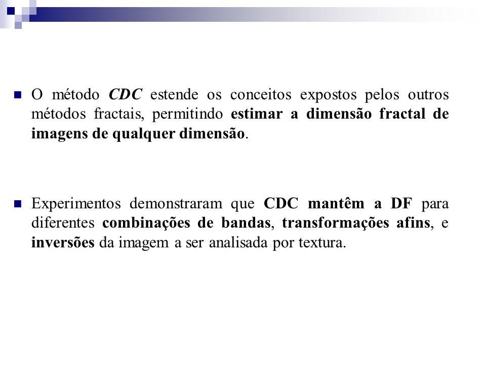 O método CDC estende os conceitos expostos pelos outros métodos fractais, permitindo estimar a dimensão fractal de imagens de qualquer dimensão. Exper