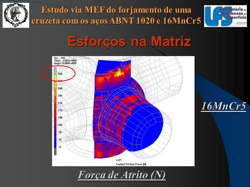 Estudo via MEF do forjamento de uma cruzeta com os aços ABNT 1020 e 16MnCr5 Esforços na Matriz 16MnCr5 Força de Atrito (N)