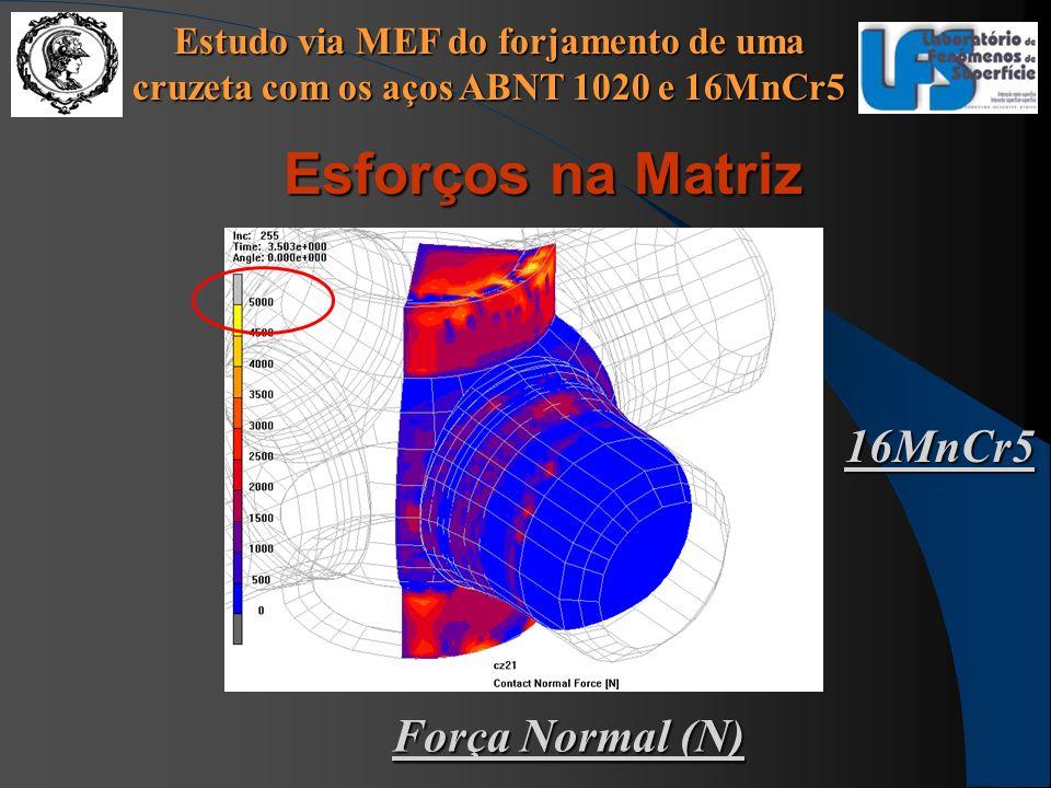 Estudo via MEF do forjamento de uma cruzeta com os aços ABNT 1020 e 16MnCr5 Força Normal (N) 16MnCr5 Esforços na Matriz