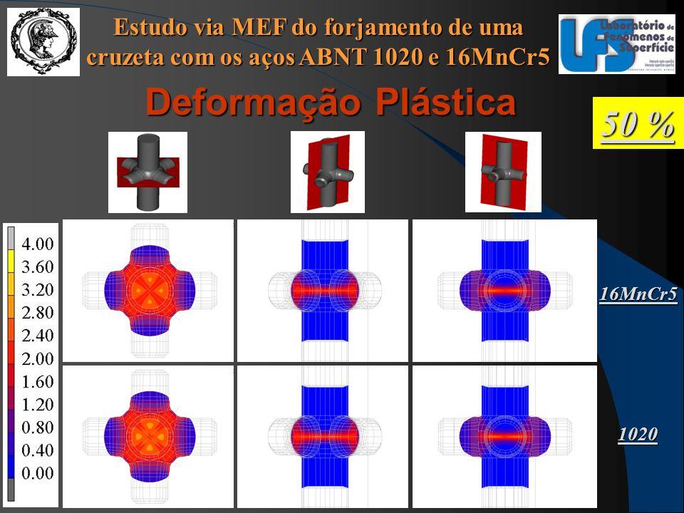 Estudo via MEF do forjamento de uma cruzeta com os aços ABNT 1020 e 16MnCr5 50 % Deformação Plástica 16MnCr5 1020