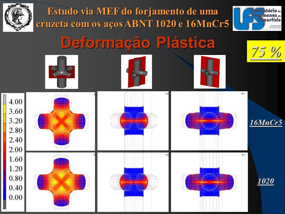 Estudo via MEF do forjamento de uma cruzeta com os aços ABNT 1020 e 16MnCr5 75 % Deformação Plástica 16MnCr5 1020