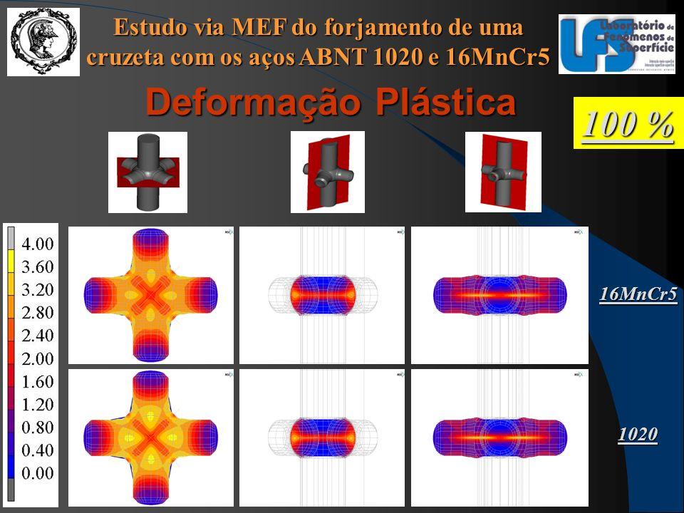 Estudo via MEF do forjamento de uma cruzeta com os aços ABNT 1020 e 16MnCr5 100 % Deformação Plástica 16MnCr5 1020