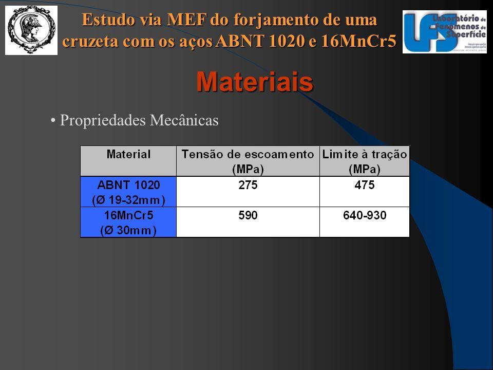 Estudo via MEF do forjamento de uma cruzeta com os aços ABNT 1020 e 16MnCr5 Materiais Propriedades Mecânicas