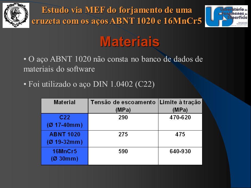 Estudo via MEF do forjamento de uma cruzeta com os aços ABNT 1020 e 16MnCr5 Materiais O aço ABNT 1020 não consta no banco de dados de materiais do sof
