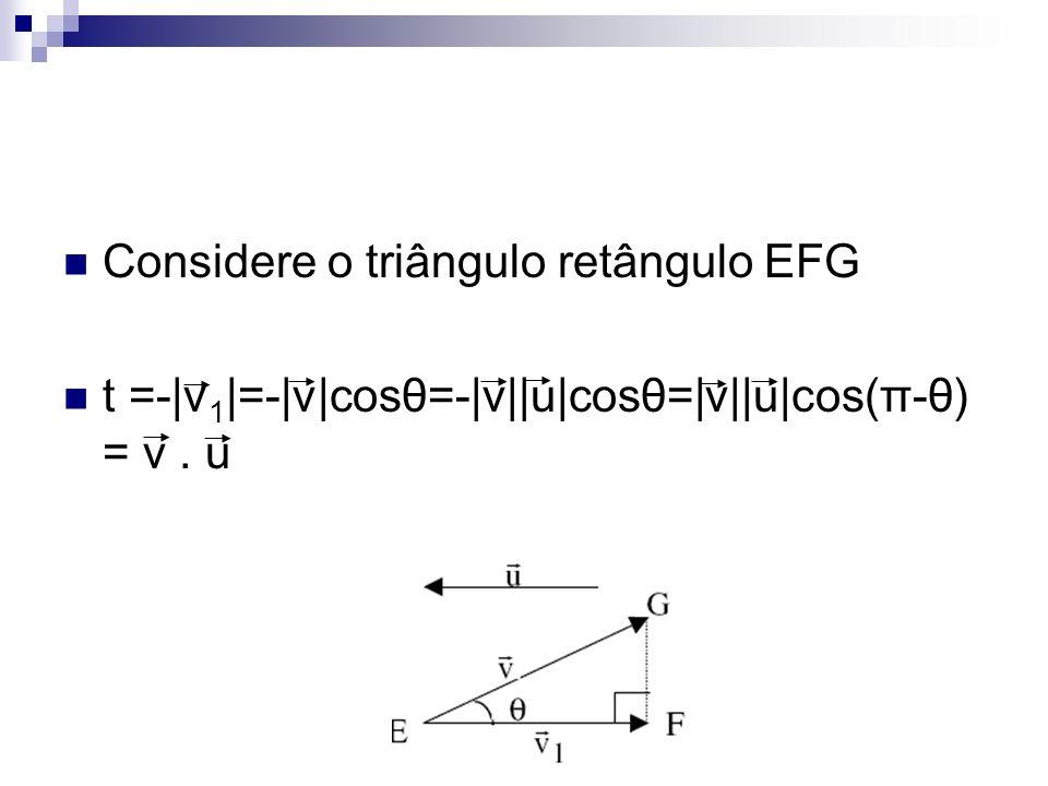 Considere o triângulo retângulo EFG t =-|v 1 |=-|v|cosθ=-|v||u|cosθ=|v||u|cos(π-θ) = v. u