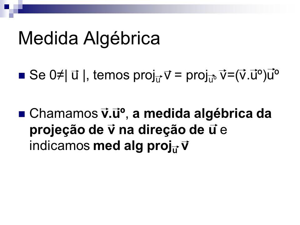Medida Algébrica Se 0| u |, temos proj u v = proj uº v=(v.uº)uº Chamamos v.uº, a medida algébrica da projeção de v na direção de u e indicamos med alg