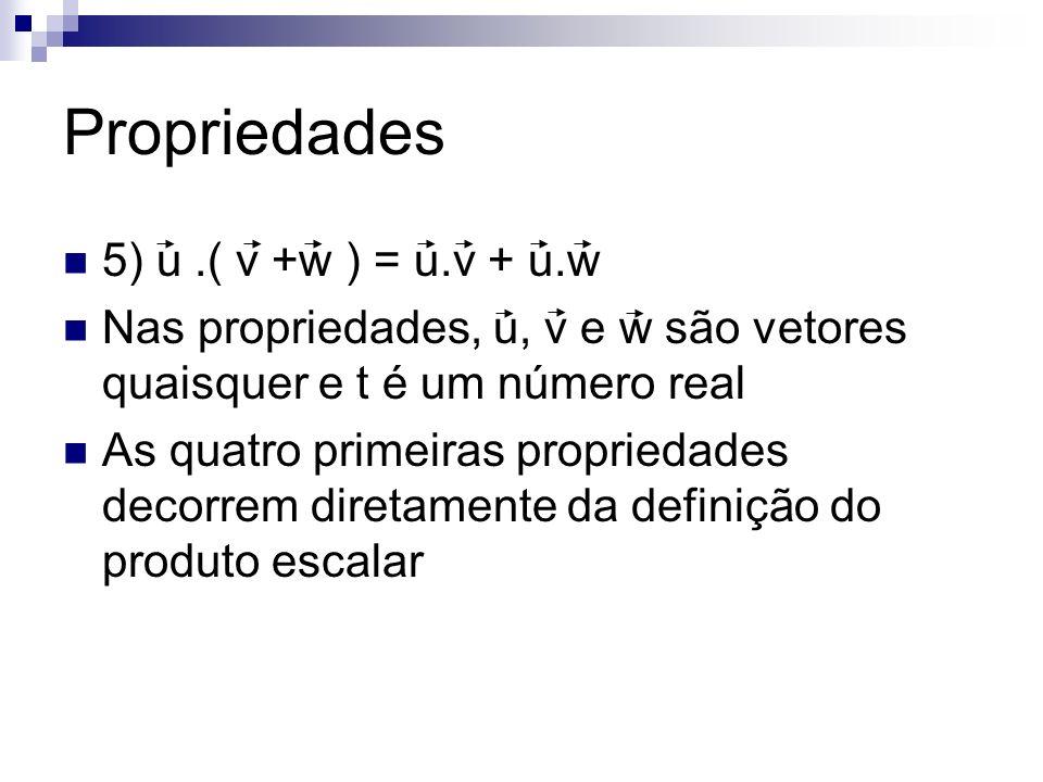 Propriedades 5) u.( v +w ) = u.v + u.w Nas propriedades, u, v e w são vetores quaisquer e t é um número real As quatro primeiras propriedades decorrem