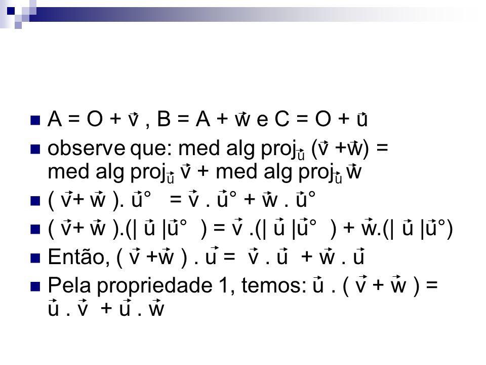 A = O + v, B = A + w e C = O + u observe que: med alg proj u (v +w) = med alg proj u v + med alg proj u w ( v+ w ). u° = v. u° + w. u° ( v+ w ).(| u |