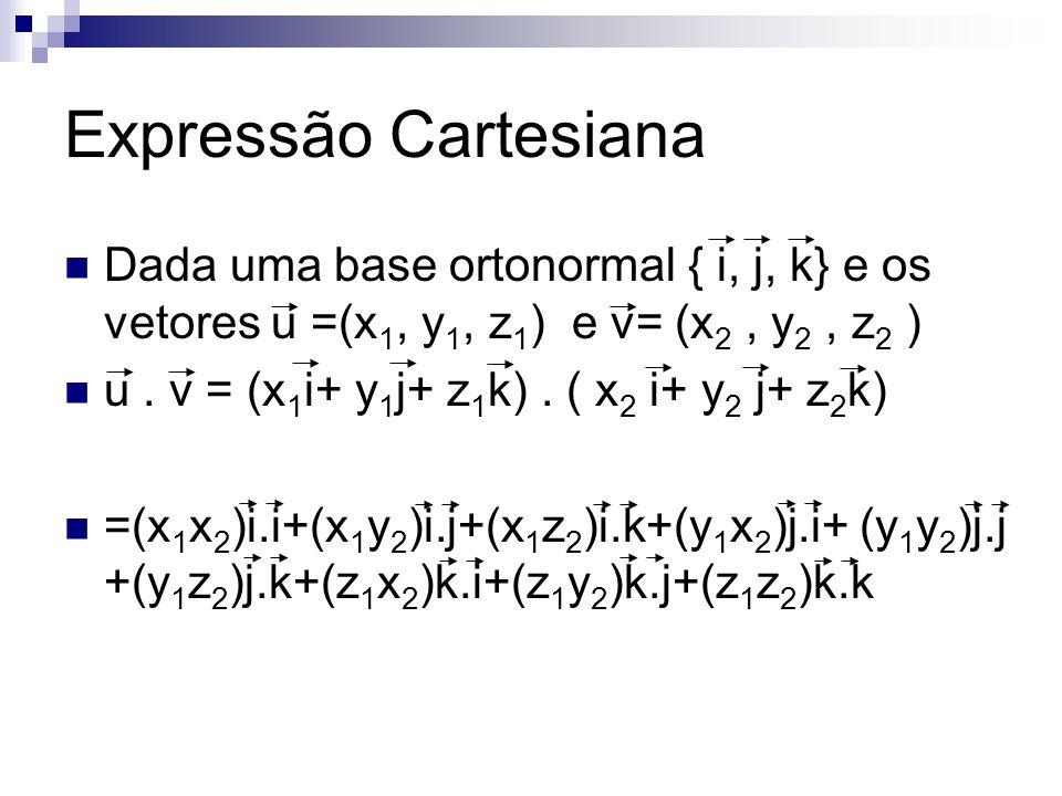 Expressão Cartesiana Dada uma base ortonormal { i, j, k} e os vetores u =(x 1, y 1, z 1 ) e v= (x 2, y 2, z 2 ) u. v = (x 1 i+ y 1 j+ z 1 k). ( x 2 i+
