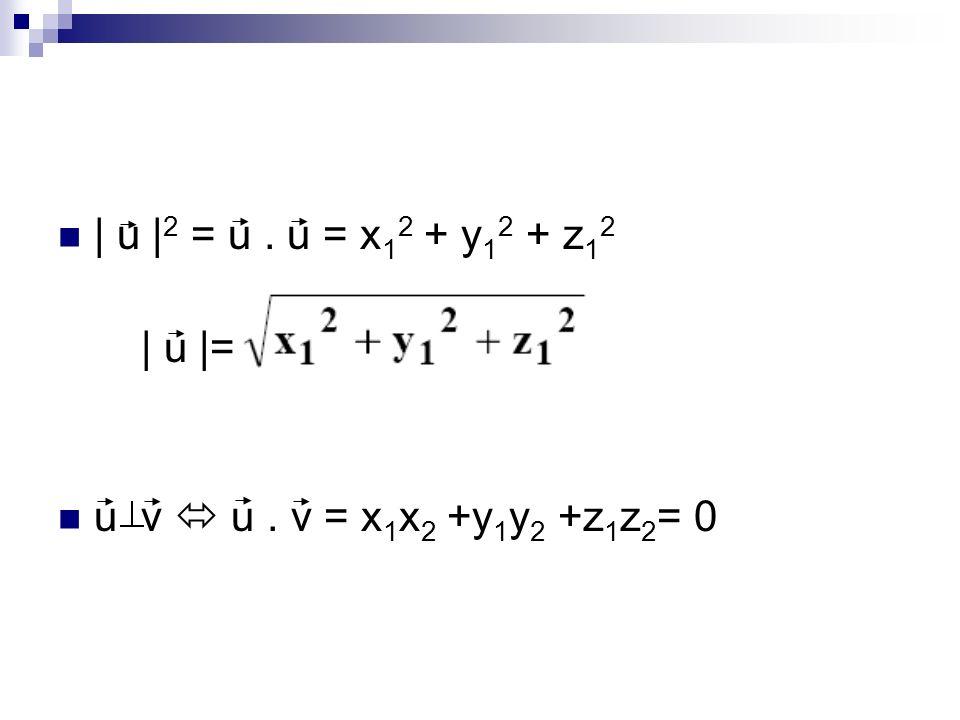 | u | 2 = u. u = x 1 2 + y 1 2 + z 1 2 | u |= u v u. v = x 1 x 2 +y 1 y 2 +z 1 z 2 = 0
