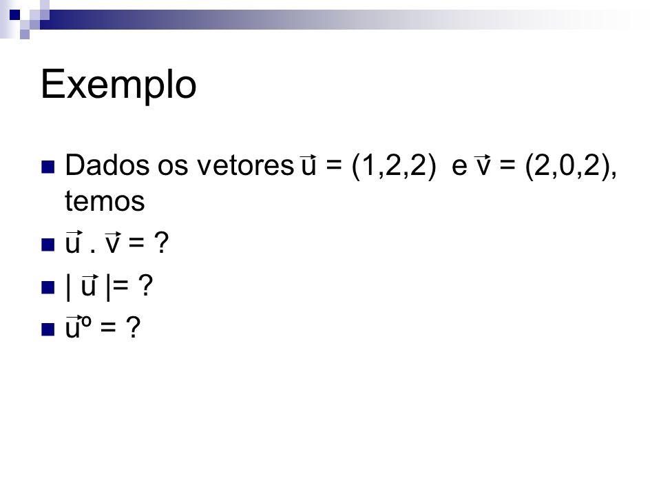 Exemplo Dados os vetores u = (1,2,2) e v = (2,0,2), temos u. v = ? | u |= ? uº = ?