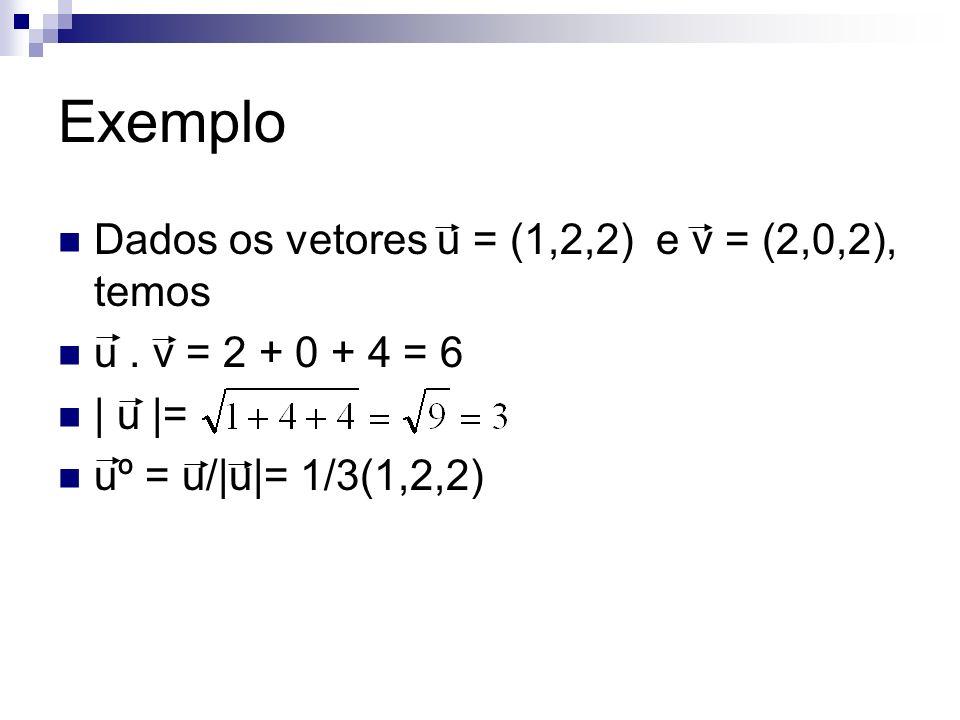 Exemplo Dados os vetores u = (1,2,2) e v = (2,0,2), temos u. v = 2 + 0 + 4 = 6 | u |= uº = u/|u|= 1/3(1,2,2)