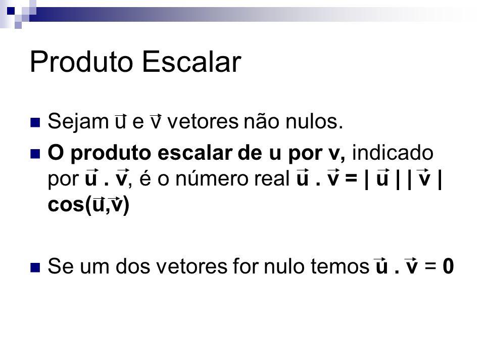 Produto Escalar Sejam u e v vetores não nulos. O produto escalar de u por v, indicado por u. v, é o número real u. v = | u | | v | cos(u,v) Se um dos
